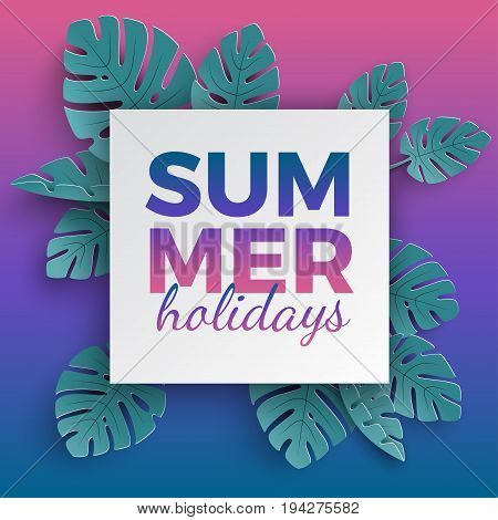 Summer holidays banner with paper cut frame and tropical plants on pink blue gradient background floral design for banner flyer invitation poster or web site. Paper cut style vector illustration