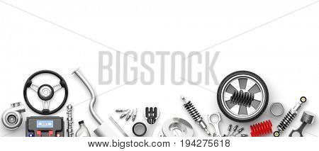 Various car parts and accessories, isolated on white background. 3d illustration