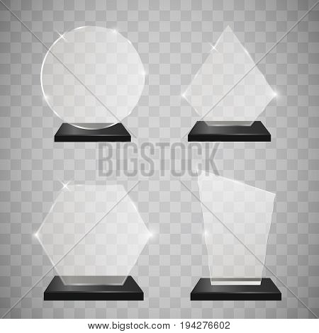 Empty glass trophy awards set. Glossy transparent trophy for award. Design elements. Transparent background. Vector illustration