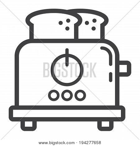 Toaster line icon, kitchen and appliance, vector graphics, a linear pattern on a white background, eps 10.
