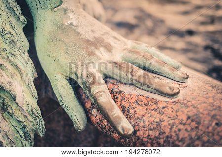 Female Hand Macro , Bronze Sculpture Hand Closeup
