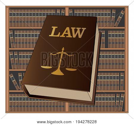 Law Library is an illustration of a law book used by lawyers and judges with a background of bookshelves filled with library books. Represents legal matters and legal proceedings.