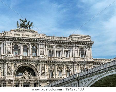 Rome Italy. Palace of Justice (Palazzo di Giustizia and Corte di Cassazione) courthouse building. Built between 1889 and 1911 by architect Guglielmo Calderini and engineer Gioacchino Luigi Mellucci.