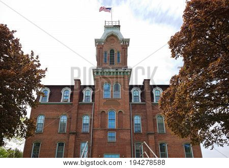 historical building old union high school completed in 1871 in downtown black river falls jackson county wisconsin