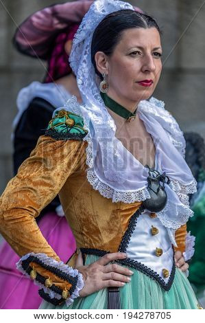 TIMISOARA ROMANIA - JULY 6 2017: Mature dancer woman from Spain in traditional costume present at the international folk festival