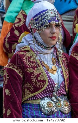 TIMISOARA ROMANIA - JULY 6 2017: Young dancer girl from Turkey in traditional costume present at the international folk festival