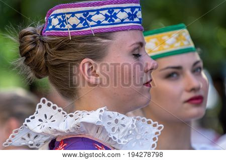 TIMISOARA ROMANIA - JULY 6 2017: Young dancer girls from Belarus in traditional costume present at the international folk festival