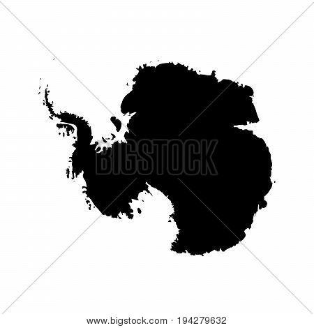 Silhouette map af Antarctica. High detailed black vector illustration isolated on white background.