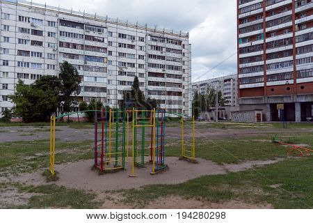 Photo of an old children's playground in one of the yards of Yoshkar-Ola Russia