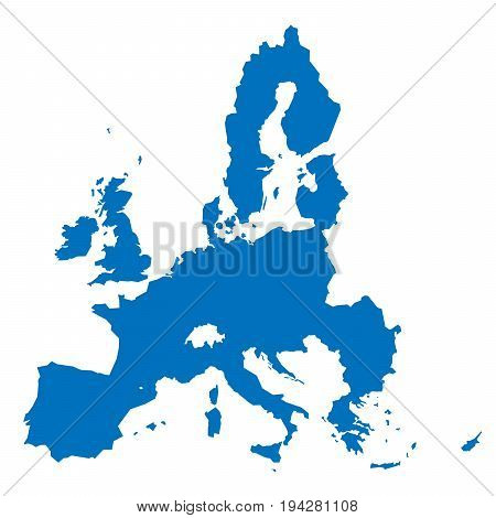 European Union territory blue silhouette isolated on white background. Map of EU. Vector illustration.