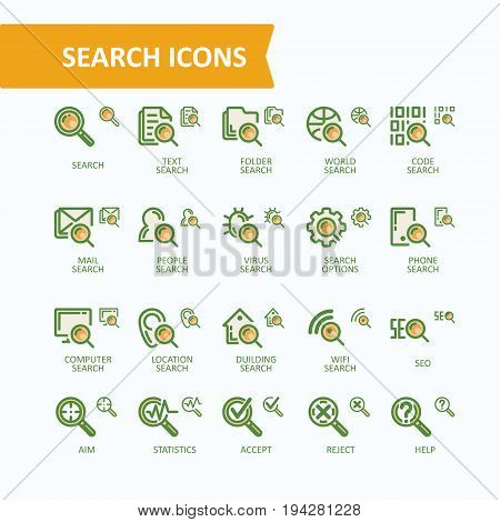 Set of vector illustrations fine line search icons, concept of analysis, search of information, data. 32x32 and 16x16 pixel perfect