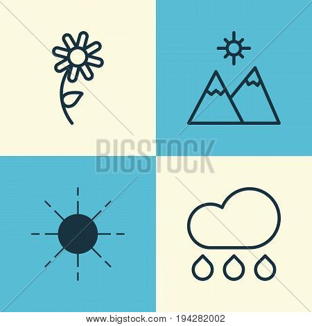Harmony Icons Set. Collection Of Sunflower, Landscape, Rain Elements. Also Includes Symbols Such As Raindrop, Mountains, Flower.
