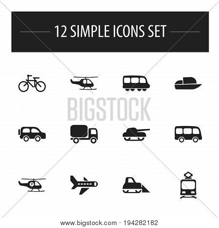 Set Of 12 Editable Transportation Icons. Includes Symbols Such As Tramcar, Service Car, Weapon And More. Can Be Used For Web, Mobile, UI And Infographic Design.