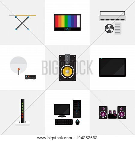 Set Of 9 Editable Technology Icons. Includes Symbols Such As Antenna, Palmtop, Modem And More. Can Be Used For Web, Mobile, UI And Infographic Design.
