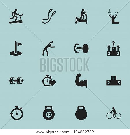 Set Of 16 Editable Training Icons. Includes Symbols Such As Strength, Racetrack Training, Biceps And More. Can Be Used For Web, Mobile, UI And Infographic Design.