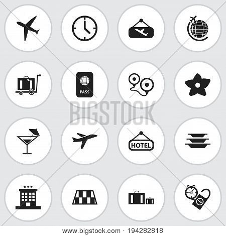 Set Of 16 Editable Trip Icons. Includes Symbols Such As Signboard, Globe Trip, Flight Signboard And More. Can Be Used For Web, Mobile, UI And Infographic Design.