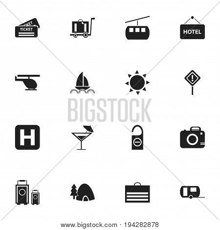 Set Of 16 Editable Trip Icons. Includes Symbols Such As Photo Cam, Chopper, Helipad And More. Can Be Used For Web, Mobile, UI And Infographic Design.