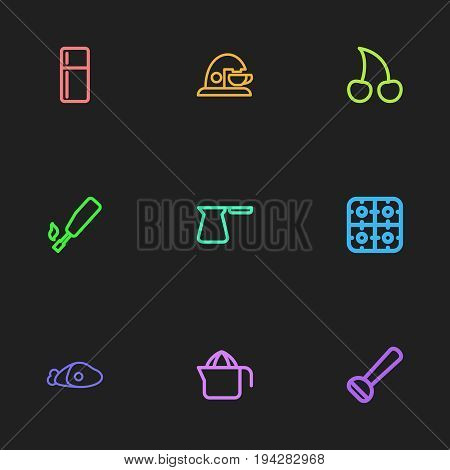 Set Of 9 Editable Meal Icons. Includes Symbols Such As Kitchenette, Espresso, Cezve And More. Can Be Used For Web, Mobile, UI And Infographic Design.