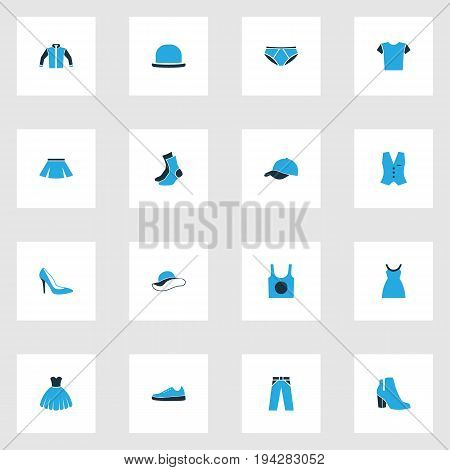 Dress Colorful Icons Set. Collection Of Dress, Trousers, Female Boots And Other Elements. Also Includes Symbols Such As Sox, Gumshoes, Dress.