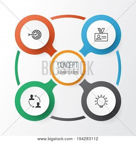 Business Icons Set. Collection Of Great Glimpse, Authentication, Cooperation And Other Elements. Also Includes Symbols Such As Partnership, Big, Idea.
