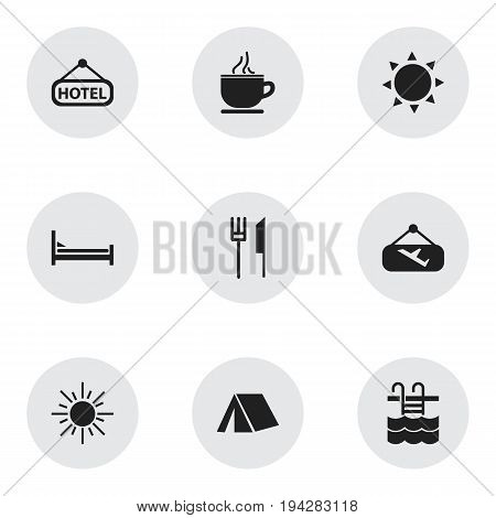 Set Of 9 Editable Holiday Icons. Includes Symbols Such As Sun, Tent, Solar And More. Can Be Used For Web, Mobile, UI And Infographic Design.
