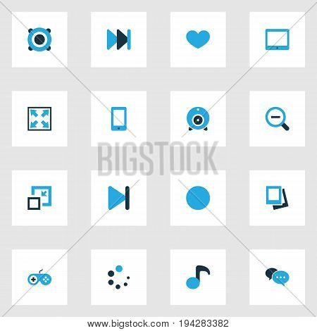 Music Colorful Icons Set. Collection Of Decrease, Magnifying, Gamepad And Other Elements. Also Includes Symbols Such As Joystick, Gamepad, Lover.