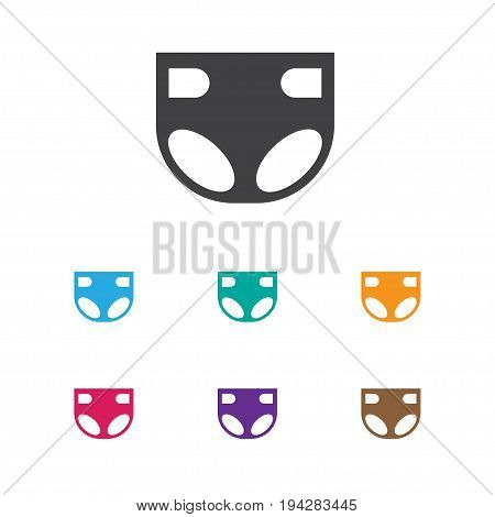 Vector Illustration Of Baby Symbol On Diaper Icon. Premium Quality Isolated Nappy  Element In Trendy Flat Style.