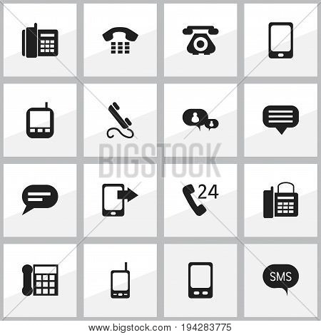 Set Of 16 Editable Gadget Icons. Includes Symbols Such As Comment, 24 Hour Servicing, Home Cellphone And More. Can Be Used For Web, Mobile, UI And Infographic Design.
