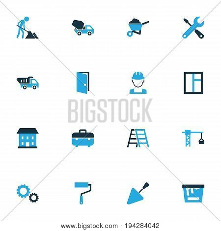 Construction Colorful Icons Set. Collection Of Maintenance, Putty Knife, Worker And Other Elements. Also Includes Symbols Such As Hook, Case, Truck.