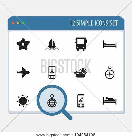Set Of 12 Editable Travel Icons. Includes Symbols Such As Point, Omnibus, Solar And More. Can Be Used For Web, Mobile, UI And Infographic Design.