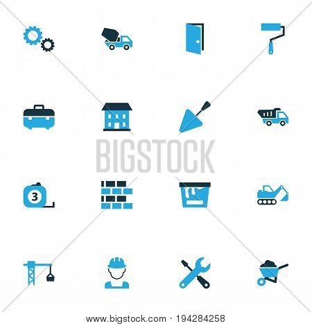 Industry Colorful Icons Set. Collection Of Building, Lifting Hook, Tip Truck And Other Elements. Also Includes Symbols Such As Crane, Builder, Masonry.