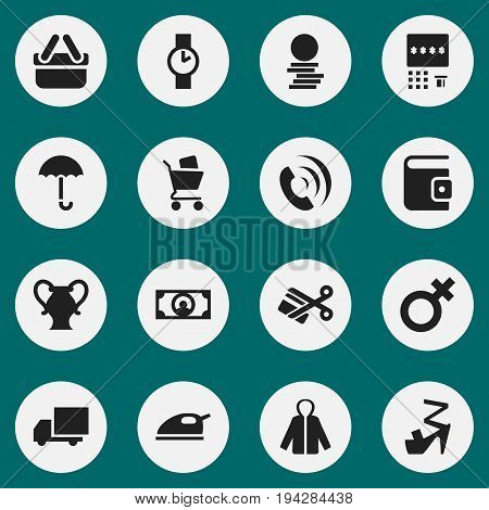 Set Of 16 Editable Business Icons. Includes Symbols Such As Amphora, Scissors, O Clock And More. Can Be Used For Web, Mobile, UI And Infographic Design.