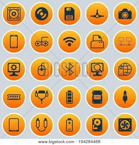 Computer Icons Set. Collection Of Aux Cord, Battery, Connected Devices And Other Elements. Also Includes Symbols Such As Photo, Distribution, Energy.