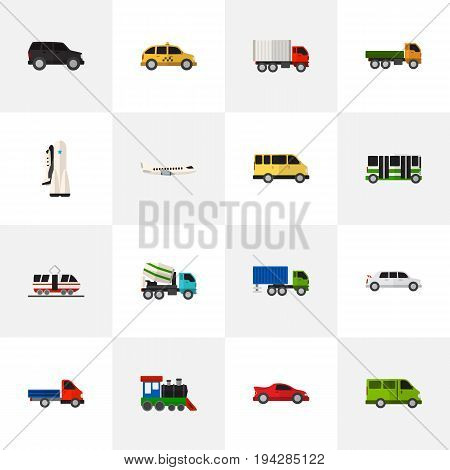 Set Of 16 Editable Automobile Icons. Includes Symbols Such As Missile, Limousine, Hatchback And More. Can Be Used For Web, Mobile, UI And Infographic Design.