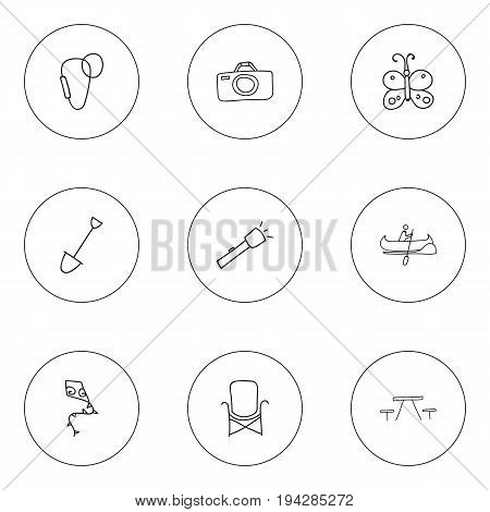 Set Of 9 Editable Trip Icons. Includes Symbols Such As Carabine, Boat, Picnic And More. Can Be Used For Web, Mobile, UI And Infographic Design.
