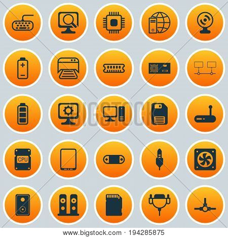 Hardware Icons Set. Collection Of Audio Device, Dynamic Memory, Diskette And Other Elements. Also Includes Symbols Such As Save, Tablet, Floppy.