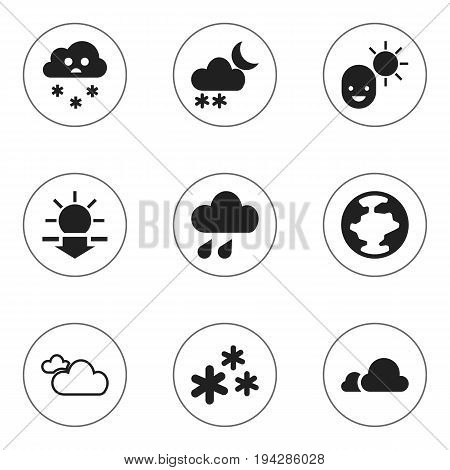 Set Of 9 Editable Weather Icons. Includes Symbols Such As Deluge, Cloudy Sky, Male And More. Can Be Used For Web, Mobile, UI And Infographic Design.