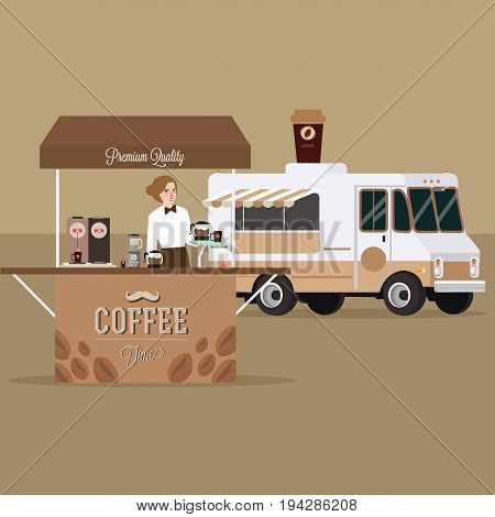 coffee truck trailer with waitress serving standing in outdoor vector