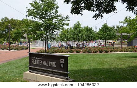 COLUMBUS OH - JUNE 28: Bicentennial Park is shown on June 28 2017. The American Electric Power Foundation Fountain has more than one thousand water jets.