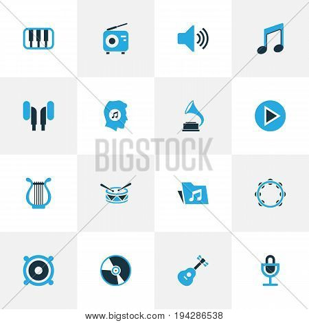 Music Colorful Icons Set. Collection Of Microphone, Drum, Gramophone And Other Elements. Also Includes Symbols Such As Keyboard, Octave, Cd.