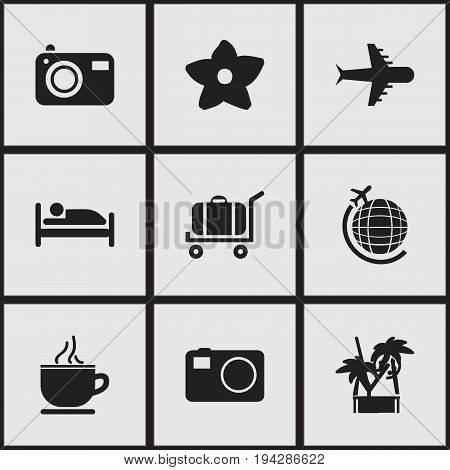 Set Of 9 Editable Journey Icons. Includes Symbols Such As Breakfast, Photography, Cold Drink And More. Can Be Used For Web, Mobile, UI And Infographic Design.
