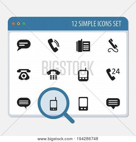 Set Of 12 Editable Gadget Icons. Includes Symbols Such As Talking, Forum, Phone And More. Can Be Used For Web, Mobile, UI And Infographic Design.