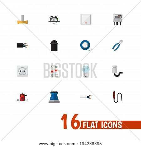 Set Of 16 Editable Electric Icons. Includes Symbols Such As Bulb, Adhesive, Emery Paper And More. Can Be Used For Web, Mobile, UI And Infographic Design.
