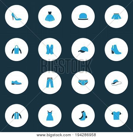 Dress Colorful Icons Set. Collection Of Vest, Skirt, Trousers And Other Elements. Also Includes Symbols Such As Footwear, Skirt, Sox.