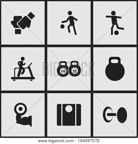 Set Of 9 Editable Sport Icons. Includes Symbols Such As Jogging, Gauntlet, Football And More. Can Be Used For Web, Mobile, UI And Infographic Design.