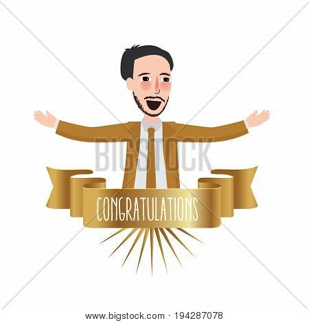 employee of the month congratulations business winner ribbon happy recognition winner champion best achievement vector