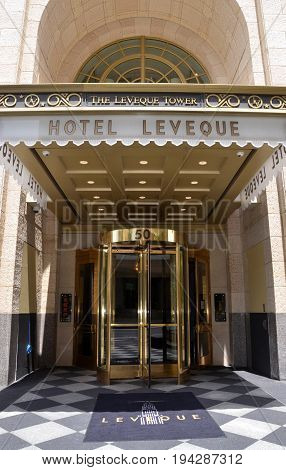 COLUMBUS OH - JUNE 28: The Hotel LeVeque entrance is shown on June 28 2017. An Autograph Collection Hotel it opened March 24 2017 in Columbus OH.