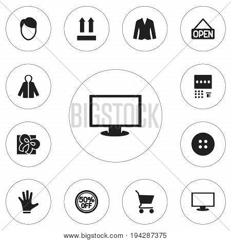 Set Of 12 Editable Trade Icons. Includes Symbols Such As Hairstyle, Cardigan, Sheath And More. Can Be Used For Web, Mobile, UI And Infographic Design.
