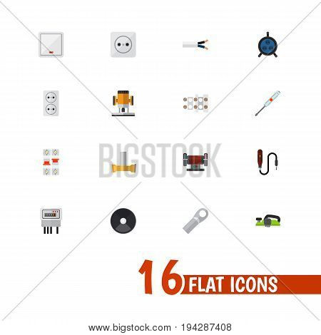 Set Of 16 Editable Electrical Icons. Includes Symbols Such As Pound, Receptacle, Mini Drill And More. Can Be Used For Web, Mobile, UI And Infographic Design.