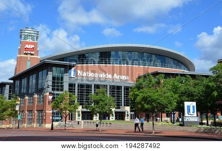 COLUMBUS OH - JUNE 27: Nationwide Arena in Columbus Ohio is shown on June 27 2017. it is the home of the Columbus Blue Jackets of the National Hockey League.